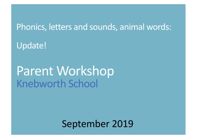 Download The Phonics Parent Workshop, 2019